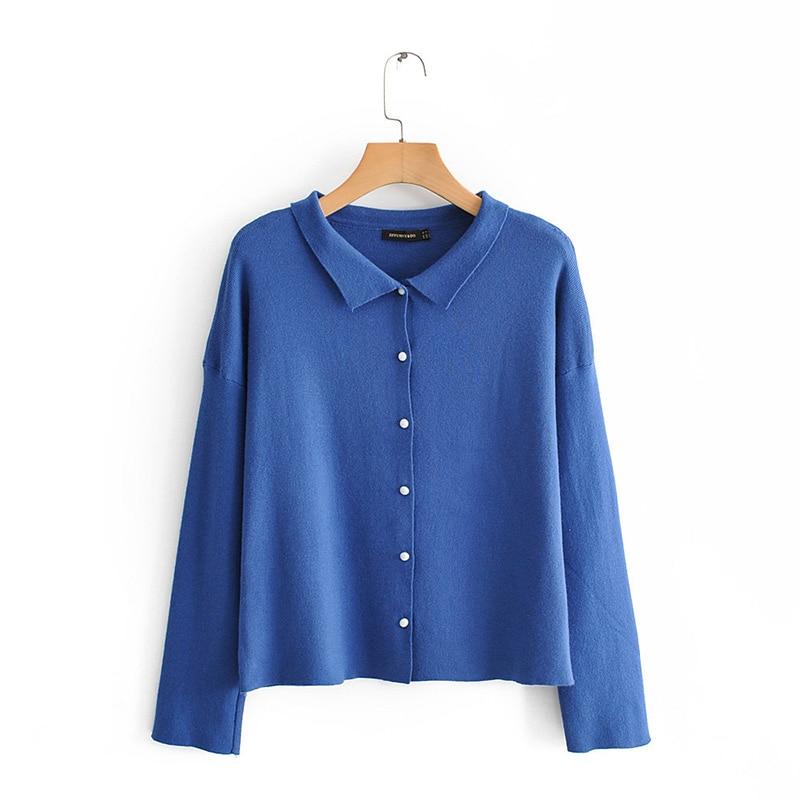 Automne tricot bleu Cardigans femmes basique mince chandail manteau mode femmes printemps solide Simple à manches longues hauts amples femme