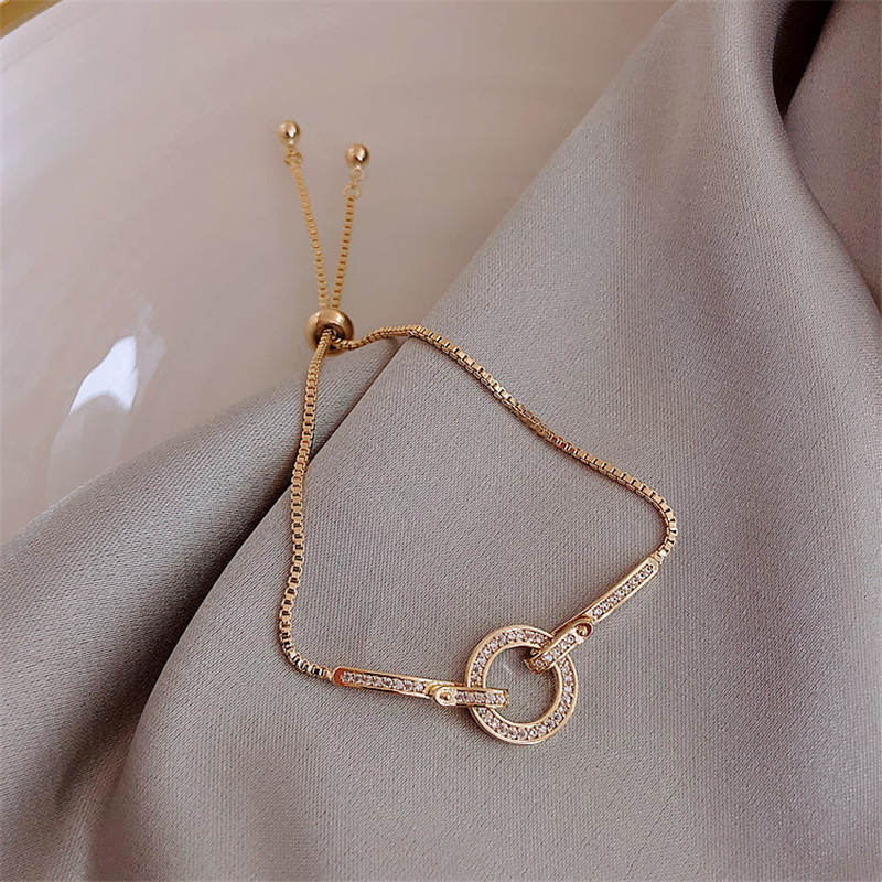 Fashionable Simple AAA Cubic Zirconia Pendant Bracelet for Woman Round Shiny Crystal Korean Bangle Female 2019 New Jewelry Gifts 4