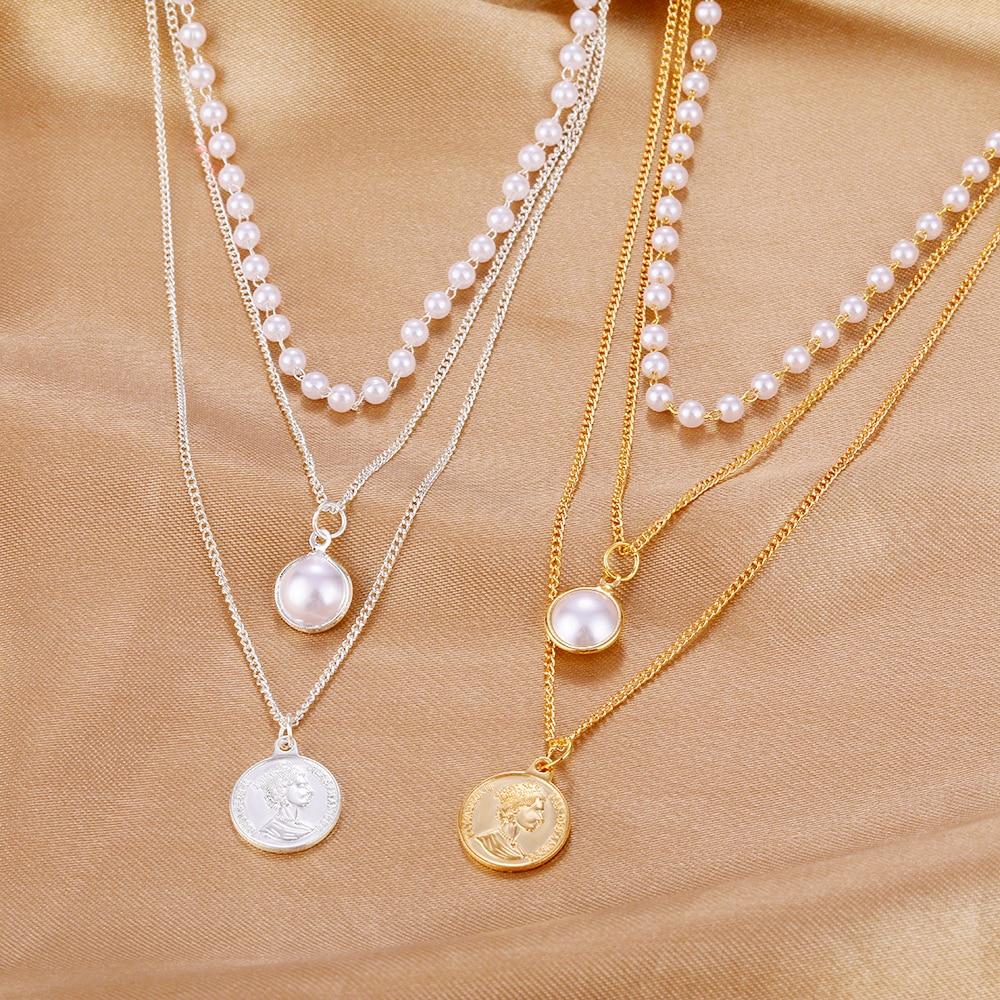 Новое модное колье-чокер с жемчугом для женщин, милая многослойная цепочка для портретов монет, ожерелья с кулоном, ювелирные изделия для де...