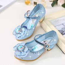 Детские кожаные сандалии с дизайном «Эльза»; детские летние туфли принцессы Эльзы на высоком каблуке для девочек; Chaussure Enfants; сандалии; обувь для вечеринок; размеры 24-36