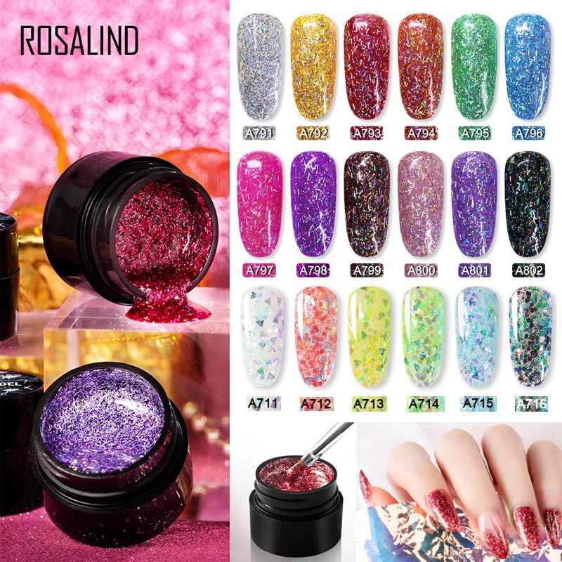 ROSALIND Glitter SHINY Silk GEL Bright เล็บจิตรกรรมการออกแบบเล็บสำหรับเล็บ UV โคมไฟ HYBRID เคลือบเงาด้านบน primer
