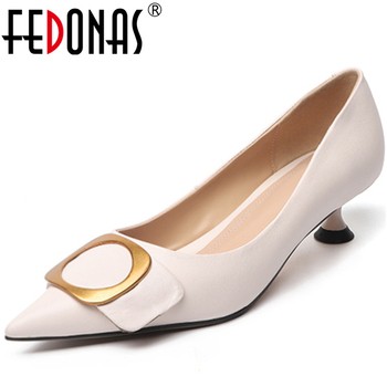 FEDONAS  Elegant Concise Women Cow Leather Wedding Casual Ring Metal Decoration Pointed Toe Thin Heel Shallow New Shoes Woman