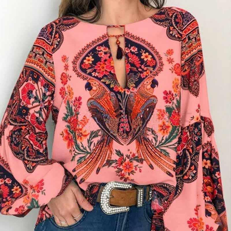 Linterna blusa Camiseta cuello pico S-5XL Oversize largo Floral Boho mujer manga Tops