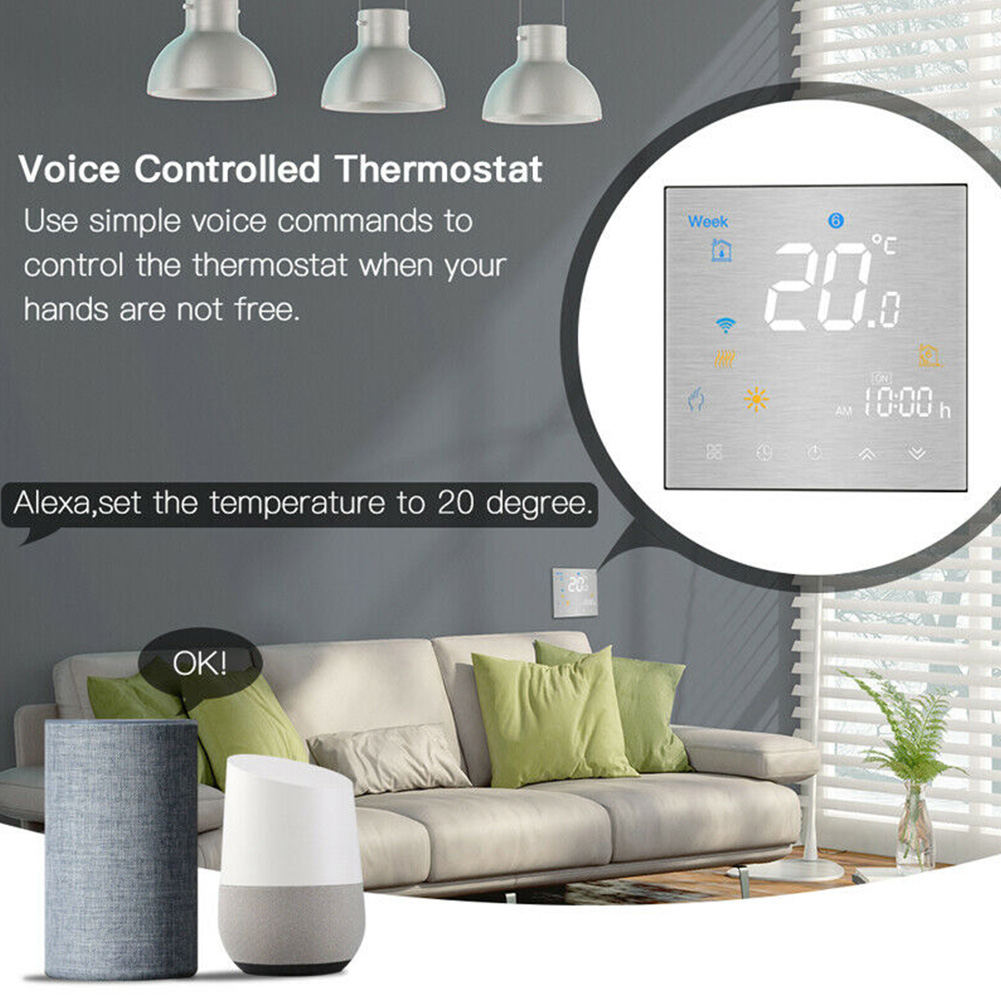 LCD Display Programmable Thermostat Smart App Children Lock NTC Sensor Wall Mounted Touch Buttons Voice Control For Alexa Google