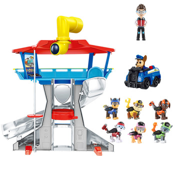 Paw Patrol Watchtower Bus Lookout Tower With Music Action Figures Patrulla Canina Captain Ryder Toys For Children Christmas Gift