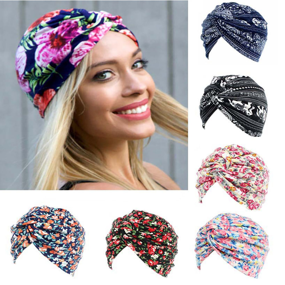 Women Flower Print Skullies Beanies Spa Cap Scarf Female Cancer Chemo Striped Hats Knotted Bohemia Slouchy Turban Head Wrap Caps