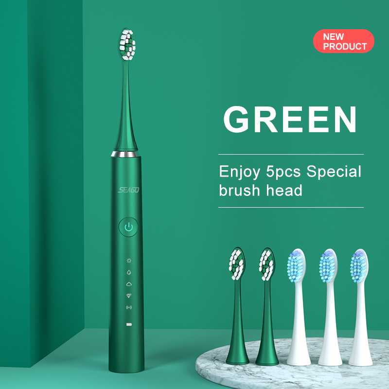 SEAGO Ultrasonic Sonic Electric Toothbrush 5 Mode USB Rechargeable Electronic Tooth Brush Waterproof Teeth Whitening Travel Case