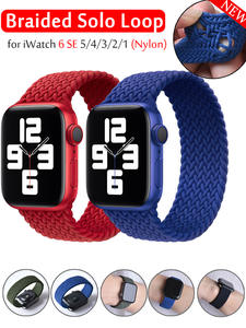 2020 Braided Solo Loop Nylon fabric Strap For Apple Watch band 44mm 40mm 38mm 42mm Elastic