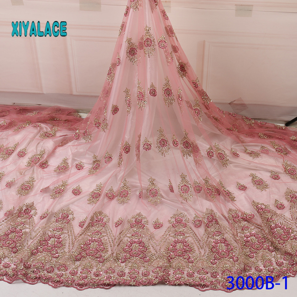 2019 African Lace Embroidered High Quality Switzerland Lace French Lace Handmade Fabric French Bridal Lace For Dress YA3000B-1
