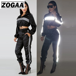 ZOGAA 2019 Womens Reflective Tracksuit 2 Two Piece Sets Black Crop Top+Pants Sweat Suit Sexy Club Outfits Loose Set Women