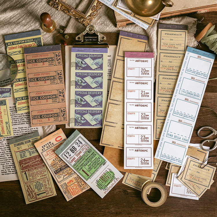 10PCS/LOT Antique Bill Series Digital Number Gear Pressing Line Sticky Paper Memo Pad