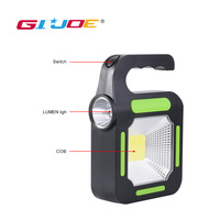GIJOE Portable led work light power bank cob solar light waterproof 2 modes plastic usb rechargeable work spotlight camping lamp