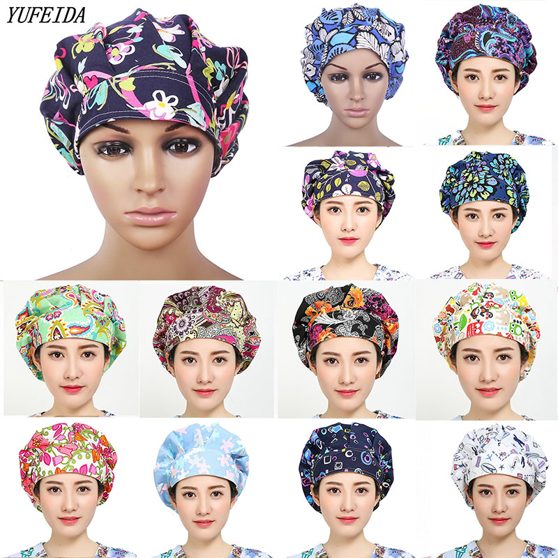 Unisex Hospital Surgical Cap Mask Cover Scrub Operation Caps Clinic Hat For Doctor Nurse Adjustable Cap Printed Hats Work Wear