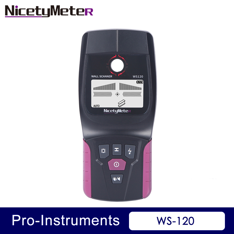 NicetyMeter WS-120 3 In 1 Metal Detector Find Wall Scanner Detector Metal Wood Cable Wire Stud Finder Scanner LED Beep GR WS120