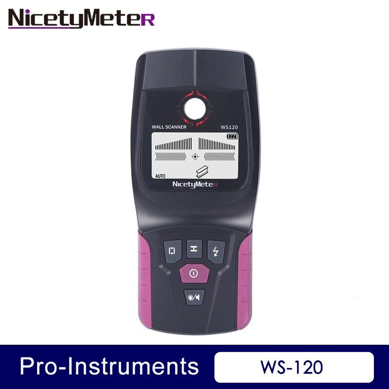 Nicetymeter Ws-120 3 em 1 Detector de Metais Encontrar Parede Scanner de Detector de Metal Scanner Localizador de Fio de Cabo de Madeira do Parafuso Prisioneiro Levou Beep gr Ws120