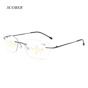 Nowe bezramowe progresywne wieloogniskowe okulary do czytania mężczyźni smart zoom okulary do czytania kobiety anty-niebieskie okulary do czytania z etui tanie i dobre opinie SCOBER WOMEN Unisex WHITE NONE CN (pochodzenie) Anti-odblaskowe RG0233 3 5cm Z poliwęglanu 5 4cm ALLOY
