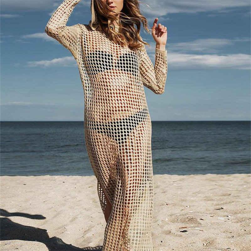 2020 vestidos de praia de malha longa com capuz pareo de plage maiô cover up beach wear pareos de playa mujer bikini cover up # q886
