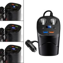 12V 24V QC3.0 Dual USB Car Fast Charger Cup Charging Voltage Current Display Wit