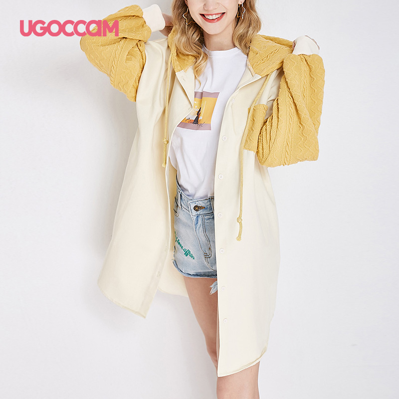 UGOCCAM Hooded Coat Yellow Women Coat Trench Oversize Splice Knitted Winter Windproof With Waistband Fashion Outwear Outdoor 7