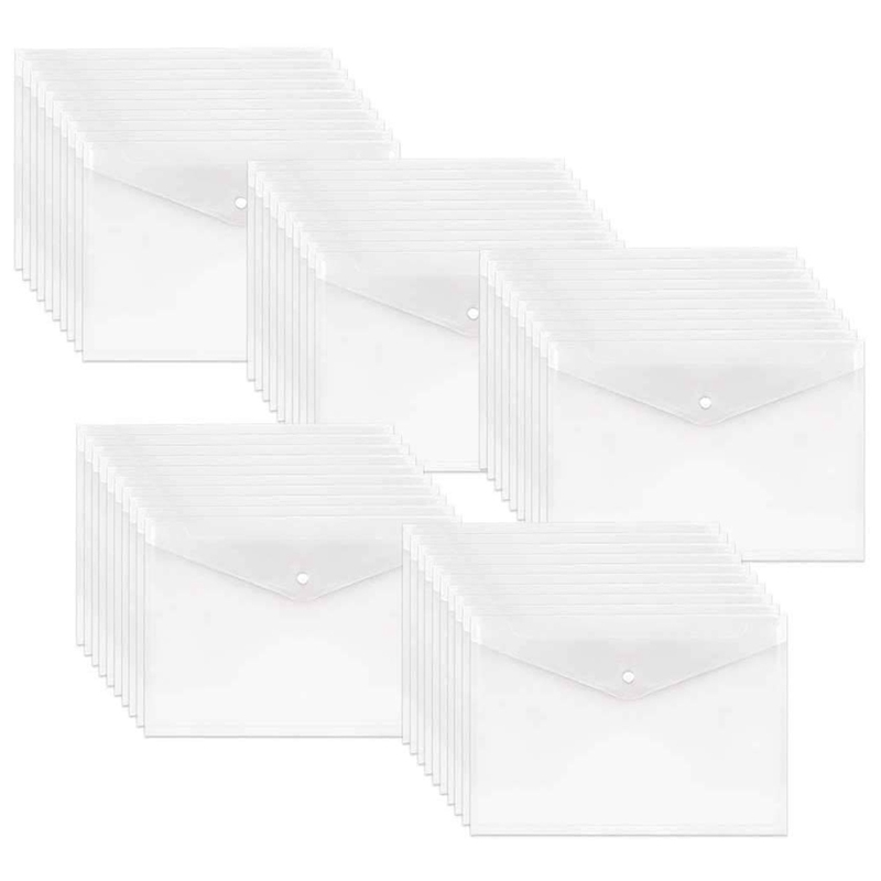 50Pcs Poly Envelope, Clear Plastic Waterproof Envelope Folder With Button Closure, Letter Project Envelope Folder A4 Size