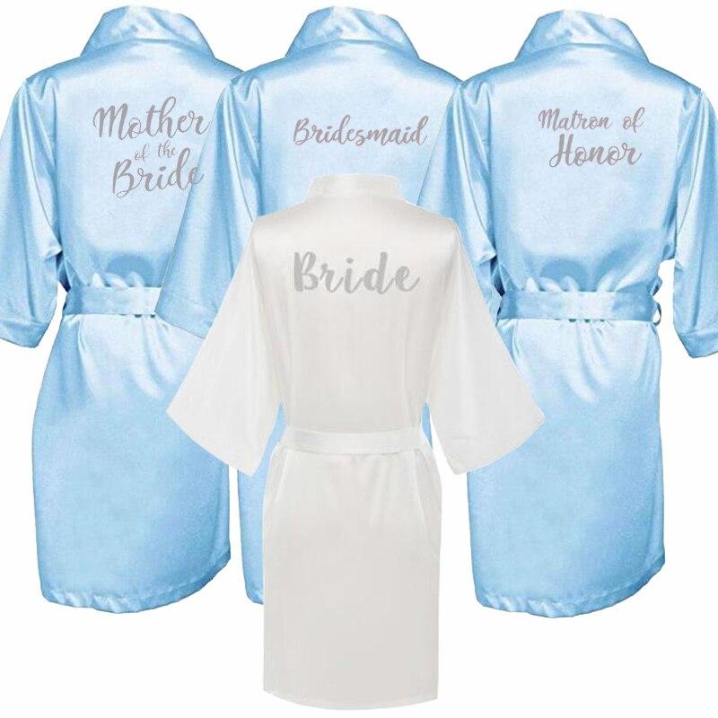 Bride Bridesmaid Silver Letters Robes.Bride Robes Pajamas Bathrobe Nightgown.Women Satin Wedding Kimono Sleepwear Get Ready Robe