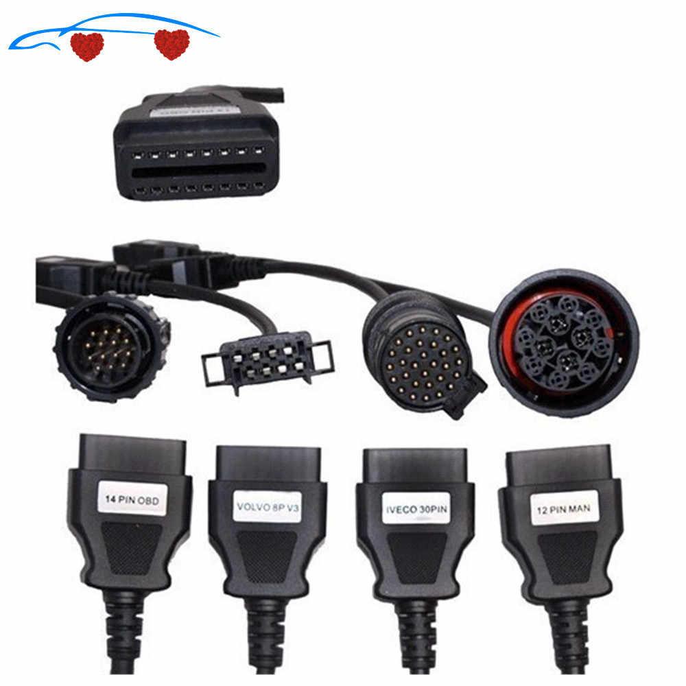 Gorąca sprzedaż Adapter ciężarówka kabel do TCS Trucks przewód połączeniowy pełny zestaw 8 kabli ciężarowych dla Multidiag pro
