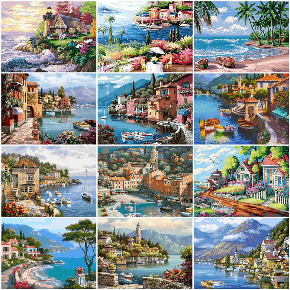 AZQSD Paint By Number Canvas Painting Kits Venice DIY Home Decoration Adult Coloring By Numbers Landscape Handpainted Gift