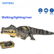 ไฟฟ้าของเล่นขนาดใหญ่เดินจระเข้หุ่นยนต์แสงเสียงจำลองรูปแบบการกระทำเด็กของเล่น