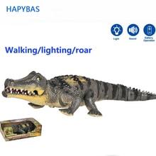 Juguete eléctrico de cocodrilo que camina de gran tamaño, robot con luz, simulación de sonido, modelo, figura de acción, juguetes para niños