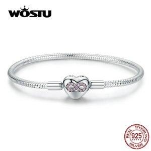 Image 1 - WOSTU Heart Infinity Love Bracelets 100% 925 Sterling Silver Pink Zircon Charm Bracelets Bangle For Women Fashion Jewelry CQB142