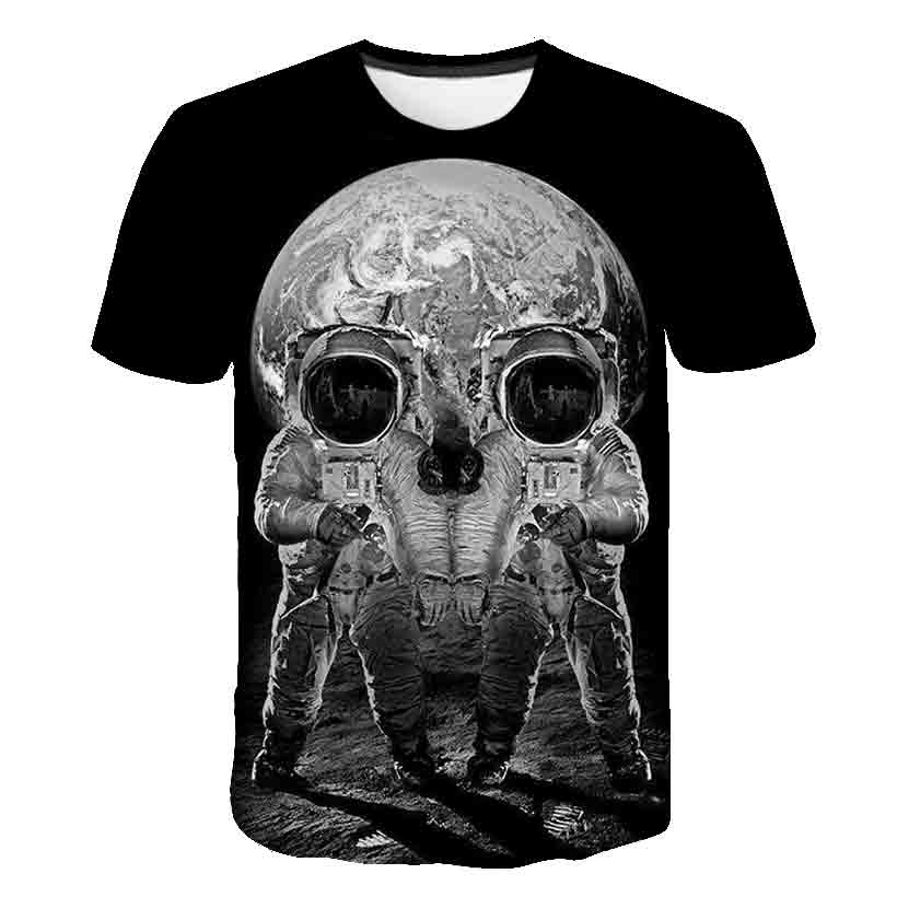 2020 new printed t-shirt skull shootout 3d t-shirt summer fashion short-sleeved t-shirt Top male/female short-sleeved Top