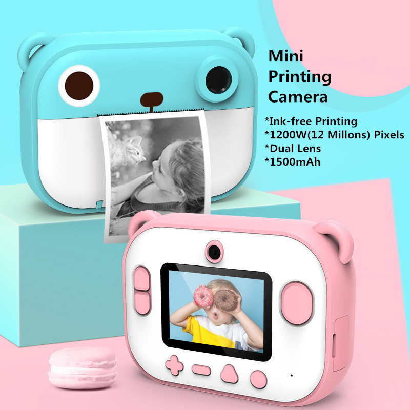 fast instant thermal printer polarioid camera 1200 pixels amera dual lens optical glass kids gift