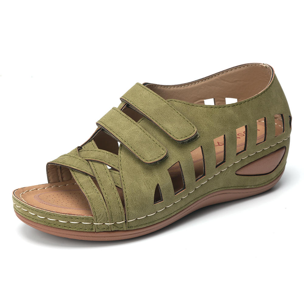 2020 New Women Sandals Lostisy Large Size Women Cross Belt Breathable Pure Color Sandals  Ankle-Wrap Sandalia Feminina Size35-43