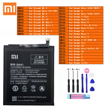 XiaoMi Phone Battery Redmi Mi Max Note 2 3 3S 4 4A 4X 5 5A 5S 5X 6 6 7 7A 8 9 Go Pro Plus A2 Lite BN41 BN31 BM47 BN34 Batteries
