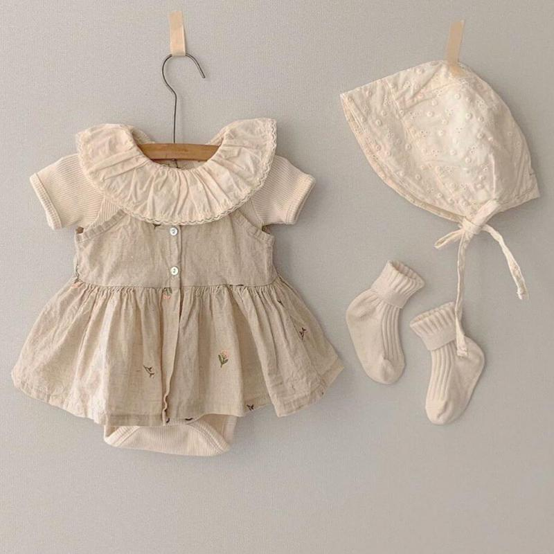 Newborn Baby Girls Clothing Sets Embroidery Floral Sling Shirts Ruffles Collar Bodysuits 2pcs Korean Style Toddlers Kids Outfits