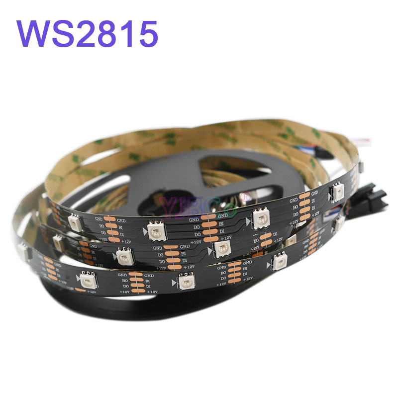 Image 2 - 5m/lot WS2815 pixel led strip light;DC12V 30/60 pixels/leds/m;IP30/IP65/IP67;Addressable Dual signal Smart led strip tape-in LED Strips from Lights & Lighting