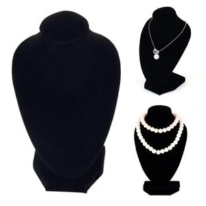 Simple Velvet fabric Durable Black Mannequin Necklace Jewelry Pendant Display Stand Show Decorate Necklace Jewelry Holder