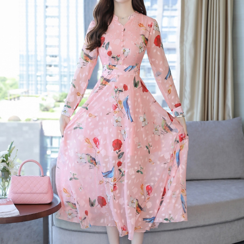 Spring Women Fashion Floral Printed Dress Long Sleeve Dress V Neck Casual Party Dress A-Line Long Dress