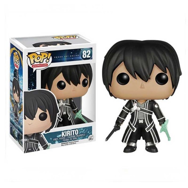 FUNKO POP SOA Sword Art Online Kirito 82# Action Figure Toys Anime Peripheral Collection Model Dolls for Kids Birthday Gifts 1