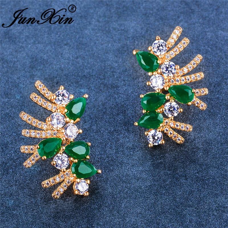 Pear Cut Female Crystal Geometric Stud Earrings For Women Yellow Gold Green Stone White Zircon Short Tassel Earrings Jewelry CZ