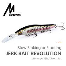 Meredith Minnow Wobbler Vissen Lokt 110 Mm Kunstmatige Harde Aas Diepte 0-3 M Jerkbait Bass Pike Baits Slow sinking Of Flaoting(China)