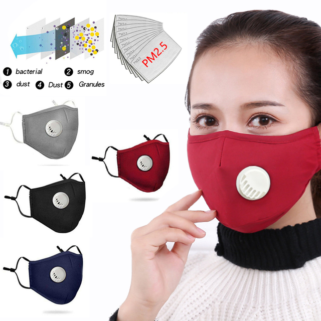 Cotton Breath Valve PM2.5 Reusable Face Mask Filters Easy Breathe Anti-Dust Anti Pollution Anti Haze Mask for Adult