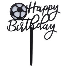 New Football Acrylic Cake Topper Novelty Soccer Happy Birthday Cake To