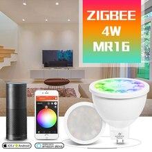 GLED0PTO ZIGBEE Mr16 ha condotto il riflettore 4W RGB/CCT HA CONDOTTO LA LAMPADINA DC12V lavoro con smartthins zigbee hub eco più intelligente di controllo del telefono luce