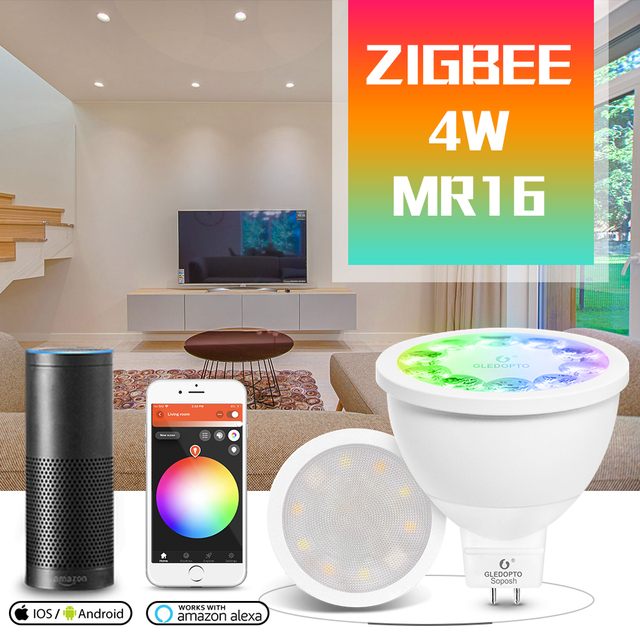 GLED0PTO ZIGBEE Mr16 led spotlight 4W RGB/CCT LED BULB DC12V work with smartthins zigbee hub echo plus smart phone control light