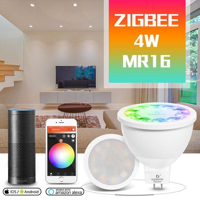 GLED0PTO ZIGBEE Mr16 reflektory led 4W RGB/CCT żarówka LED DC12V praca z smartthins zigbee hub echo plus inteligentne sterowane telefonem światło