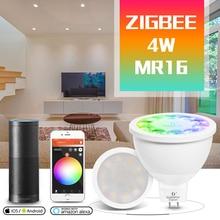 Gled0pto zigbee mr16 led spotlight 4w rgb/cct lâmpada led dc12v trabalho com smartthins zigbee hub eco mais luz de controle de telefone inteligente