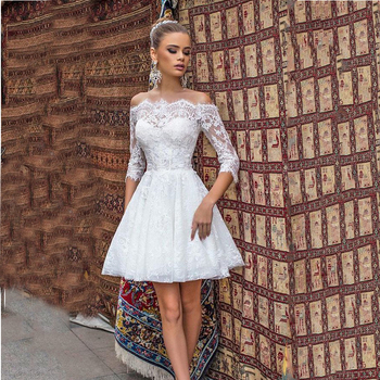 цена на Verngo Modest Short Wedding Dress With 2/3 Sleeves A Line Lace Wedding Gowns Off the Shoulder 2020 Bride Outdoor Bridal Dress