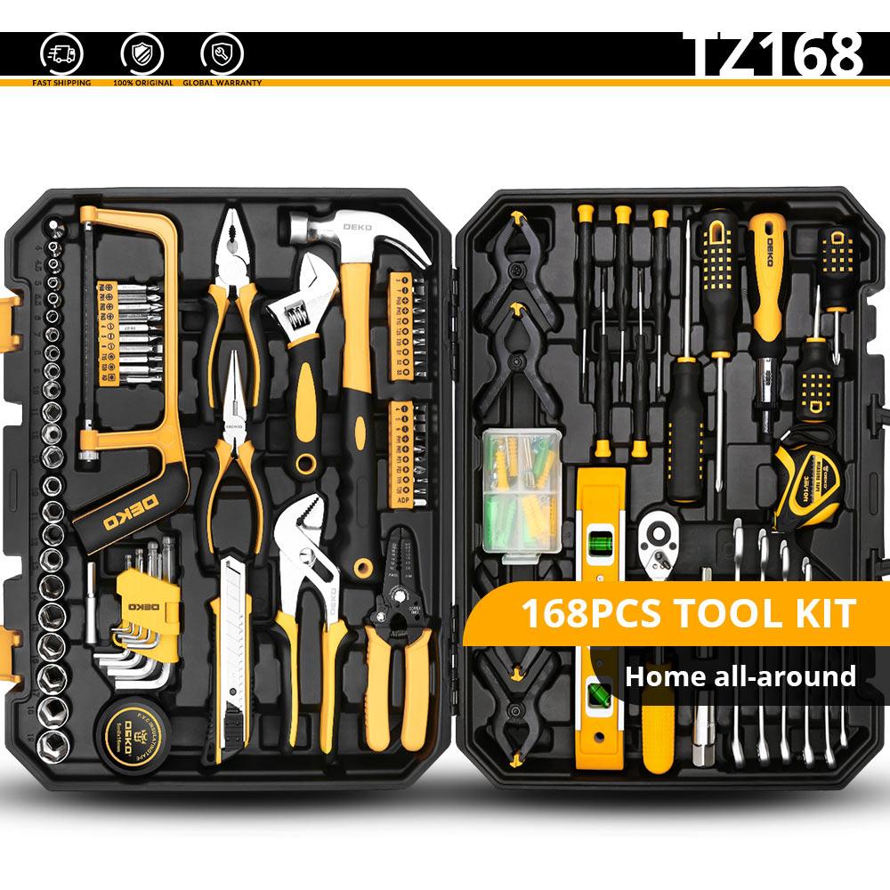 Набор ручных инструментов DEKO, универсальный набор ручных инструментов для домашнего ремонта с пластиковым ящиком для инструментов, чехол для хранения, торцевой ключ, отвертка, нож - Цвет: TZ168