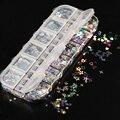 12 ячеек, серебряная серия, дневные хлопья, голографическая бабочка, порошок для ногтей, украшения для ногтевого дизайна, стикер для дизайна